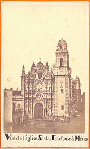 Santa Ildefonso Church, Mexico, old Pestel CDV 1865'