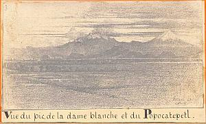 Popocatepetl, drawing, Mexico, old Photo CDV 1865'
