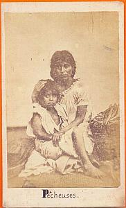Fisherwoman & child, Mexico, old Merille CDV 1865'