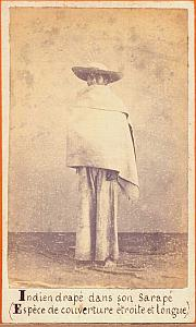 Indian in Sarape clothing Mexico, old Merille CDV 1865'