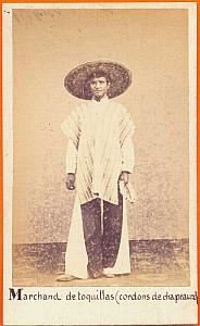 Native Toquillas seller, Mexico, old Merille CDV 1865'