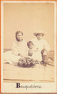 Family Flower-Girl, Mexico, old Merille CDV 1865'