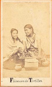 Tortillas Makers, Mexico, old Merille CDV 1865'