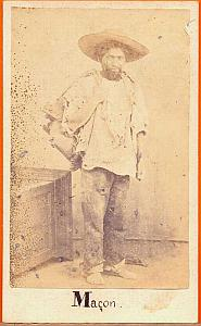 Indian Mason Worker, Mexico, old Merille CDV 1865'
