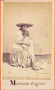 Onion Seller with child, Mexico, old Merille CDV 1865'