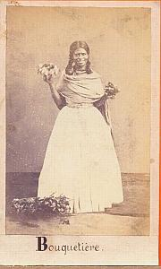 Native Flower-Girl, Mexico, old Merille CDV 1865'