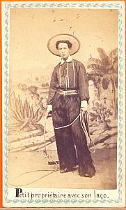 Farmer with lasso, Mexico, old Merille CDV 1865'