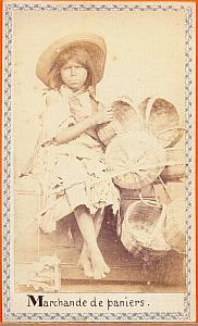 Wicker Basket dealer, Mexico, old Merille CDV 1865'