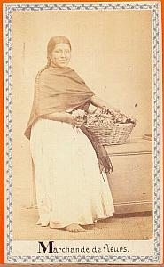 Native flower-girl seller, Mexico, old Merille CDV 1864
