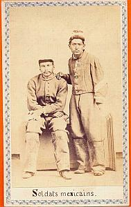 Mexican Soldiers, Mexico, old Merille CDV 1865'