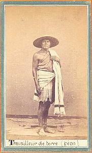 Native Farm Worker, Mexico, old Merille CDV 1865'