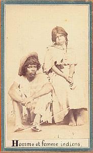Native Mexican Indian couple Mexico Merille CDV 1865'