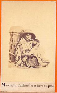 Terra-Cota Pottery Seller Mexico, old Michaud CDV 1865'