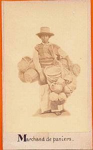 Wicker Basket Seller, Mexico, old Michaud CDV 1865'