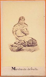 Native Fruit Seller, Mexico, old Michaud CDV 1865'