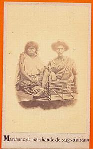 Native bird cage Seller, Mexico old Michaud CDV 1864