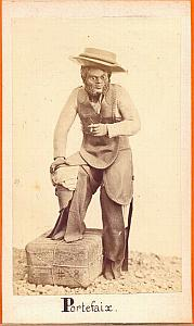 Mexican Docker Porter , Mexico, old Michaud CDV 1865'