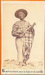 Lover Singing Guitar Mexico, old Michaud CDV 1865'