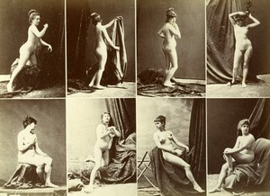 France 8 Images Posed Sexy Female French Risque Erotica Old Calavas Photo 1870's