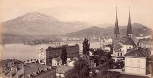 Lucerne Church Lake, Switzerland, old Frith Photo 1870s