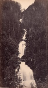 Giessbach waterfall Switzerland, old Frith Photo 1870's