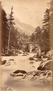 Waterfall, Switzerland, old Frith Photo 1870's