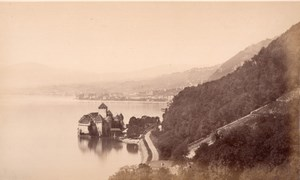 Chillon Geneva Lake, Switzerland, old Frith Photo 1870s