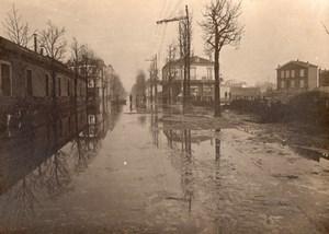 France Paris Asnieres Floods Inondations old Anonymous Studio Photo 1910
