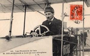 France Aviation Leon Delagrange in his Airplane Old Postcard 1910