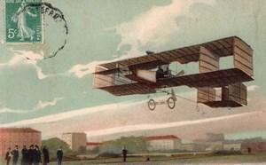 France Aviation Leon Delagrange Flying in his Airplane Old Postcard 1910