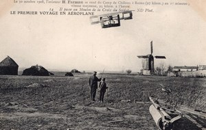 Aviation Camp de Chalons Henry Farman in Flight Windmill Old Postcard 1908