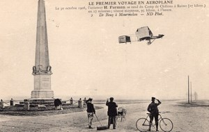 Aviation Camp de Chalons Henry Farman in Flight Monument Old Postcard 1908
