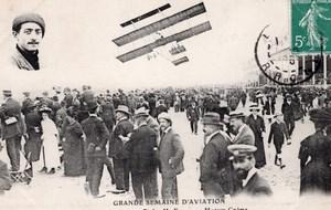 France Lyon Aviation Louis Paulhan sur Biplan Farman Ancienne Carte Postale CPA vers 1910