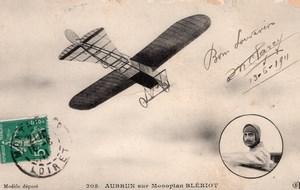 France Aviation Aubrun on Bleriot Monoplane Old Postcard 1911