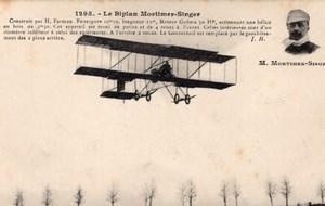 France Aviation Farman Mortimer Singer Biplane Old Postcard 1911
