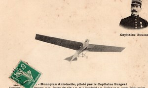 France Aviation Capitaine Burgeat Monoplan Antoinette Ancienne Carte Postale CPA vers 1911