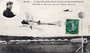 France Reims Aviation Kuller sur Monoplan Antoinette Ancienne Carte Postale CPA vers 1910