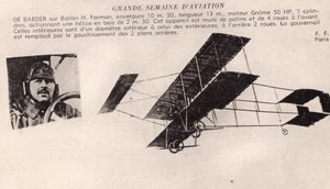 France Aviation De Baeder on Farman Biplane Old Postcard 1910