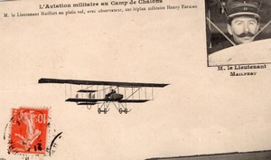 Aviation Camp de Chalons Lieutenant Mailfert on Farman Biplane Old Postcard 1911