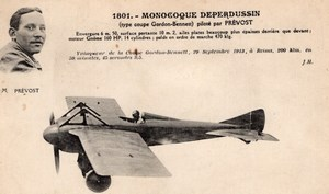 France Aviation Maurice Prevost sur Deperdussin Monoplane Old Postcard 1913
