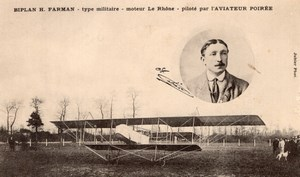 France Aviation Alphonse Poiree on Military Farman Biplane Old Postcard 1912