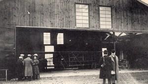 France Pau Aviation School Wright? Airplane in Hangar Old Postcard 1909