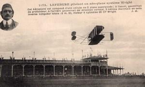France Reims Aviation Week Lefebvre on Wright Biplane Old Postcard 1909