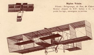 France Aviation Voisin Biplane Delagrange De Rue de Caters Old Postcard 1909