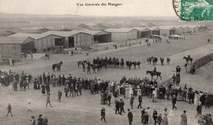 France Reims Semaine d'Aviation de Champagne Hangars Horses Old Postcard 1909