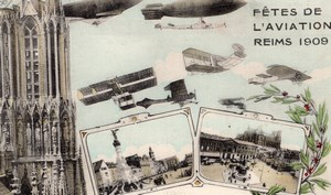 France Reims Fetes de l'Aviation Week Old Postcard 1909