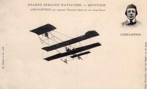 France Aviation Lindpaintner on Sommer Biplane Old Postcard 1910
