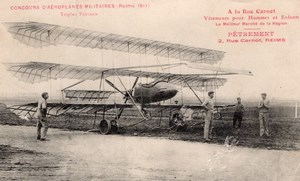 France Reims Military Aviation Paulhan Triplane Old Postcard 1911