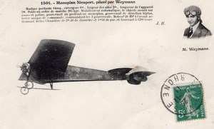 France Aviation Charles Terres Weymann on Nieuport Monoplane Old Postcard 1910