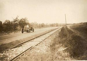 France, Automobile on Race Track, old Photo 1912